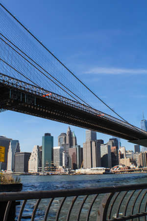 New York, USA - August 12, 2016: Brooklyn Bridge in New York. Sights, buildings and streets of New York.