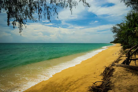 The shores of Thailand, cliffs with forests and bays of the sea.