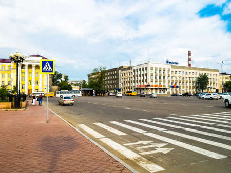 Irkutsk, Russia - August 24, 2016: The sights of Irkutsk, streets and buildings of the city, historical and modern buildings. 報道画像