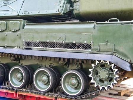 Slavyansk, Ukraine - June 20, 2016: An anti-aircraft missile system BUK, transportation of a combat vehicle through the city to the anti-terrorist operation zone. Transportation through the city of Slavyansk. Editorial