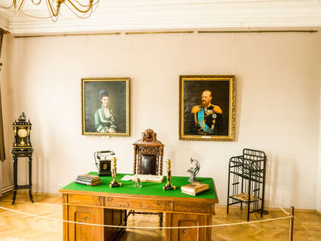 Irkutsk, Russia - August 24, 2016: The interior of the museum of ancient royal buildings. Nicholas the Second, Tsar of Russia. Editorial
