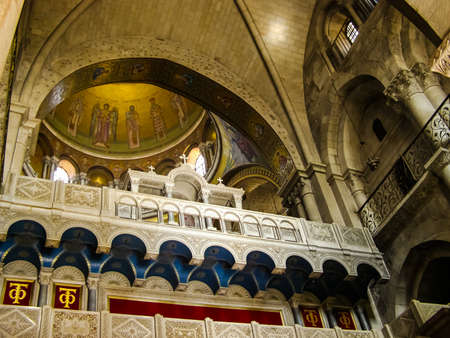 Jerusalem, Israel - May 23, 2013: The city of Jerusalem, the interiors of Christian churches. The interior of buildings, frescoes and decorative elements.