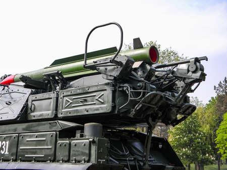 Slavyansk, Ukraine - June 20, 2016: An anti-aircraft missile system BUK, transportation of a combat vehicle through the city to the anti-terrorist operation zone. Transportation through the city of Slavyansk. Sajtókép