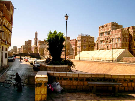 Sanaa, Yemen - May 12, 2015: City of Sanaa, streets and buildings of the city in Yemen, sights and architecture of the Middle East.