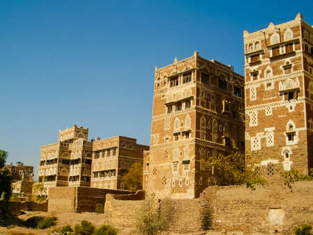 City of Sana'a, streets and buildings of the city in Yemen, sights and architecture of the Middle East.