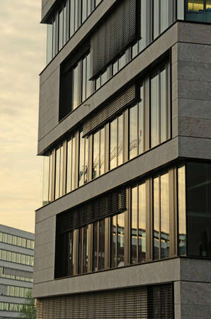 ade: Abstract fragment of façade of modern building modern design