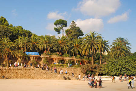 12 13: BARCELONA, SPAIN - AUGUST 12: Landscape with palm trees in the Park Guell on August 13, 2011 in Barcelona, Spain. Editorial