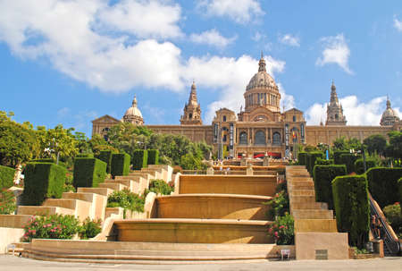 colourfully: BARCELONA, SPAIN - AUGUST 12: Palau Nacional de Montjuic on August 12, 2011 in Barcelona, Spain. National Palace of Montjuic is now known as the National Art Museum of Catalonia, this is a tourist attraction in the sitу.