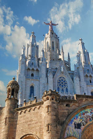 neogothic: BARCELONA, SPAIN - AUGUST 11: Expiatory church of the Sacred Heart of Jesus on mountain Tibidabo on August 11, 2011 in Barcelona, Spain.