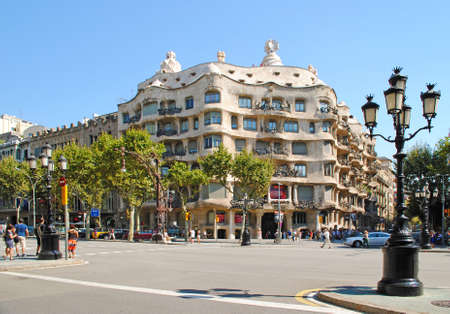 famous building: BARCELONA, SPAIN - AUGUST 12: Casa Mila on August 12, 2011 in Barcelona, Spain. This famous building was designed by Antoni Gaudi, included in the list of UNESCO. Editorial
