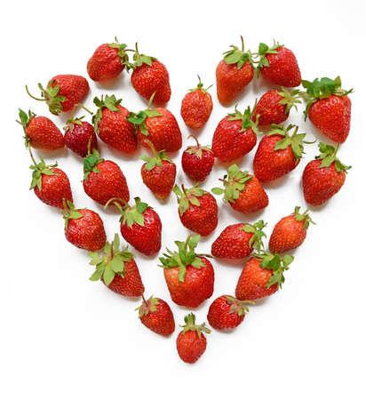 14 february: Red heart shaped strawberry (wish-card, valentine, 14 February, love) Stock Photo