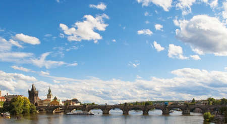 praha: View of the Vltava River and Charles Bridge in Praha, Czech Republic