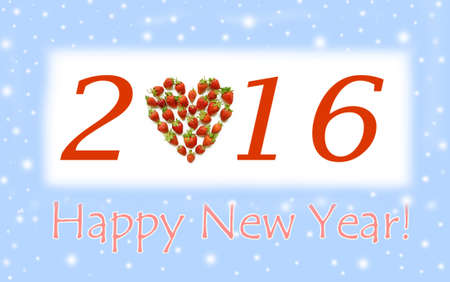 christmas motif: Christmas motif with heart shaped strawberries (2016, New Year card - concept).