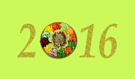 christmas motif: Christmas motif with fresh salad vitamin (2016, New Year card - concept).