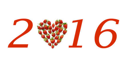 christmas motif: Christmas motif with heart shaped strawberries