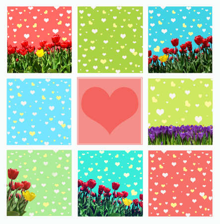 abstrakt: Abstrakt background with tulips and crocuses for greeting with a Happy Valentine (March 8, February 14). vintage style Stock Photo