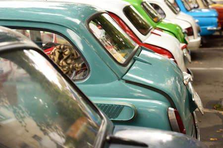 hubcap: Detail of old cars of different colors Stock Photo