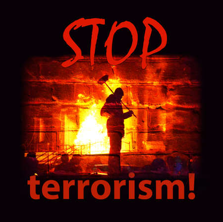 extremist: The inscription Stop terrorism and the stylized image of the terrorist on the ashes after the explosion (terrorist attacks, the threat of - concept)