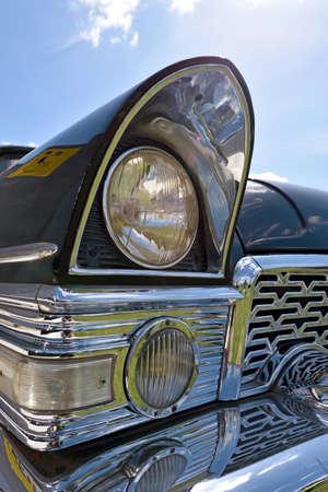 unique concept: Frahemnt black  vintage car with original headlight. (Identity, vintage, unique - concept) Stock Photo