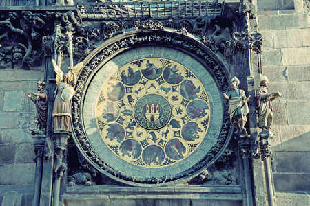 europe vintage: Astronomical Clock (Orloj) close-up in Prague, Czech Republic, Europe. Vintage style. Stock Photo