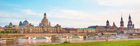 The picturesque view of old Dresden over the river Elbe. Saxony, Germany, Europe.