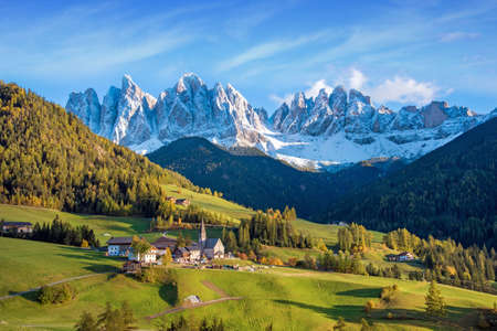 Incredible landscape with the church in the valley of Santa Magdalena, Italy, Europe, Dolomites Stock Photo