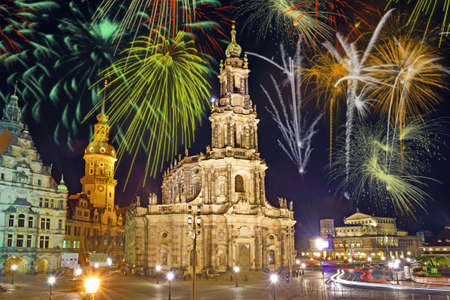 Beautiful bright colorful city landscape in the old city of Dresden, Germany in the festive New Years fireworks Stock Photo