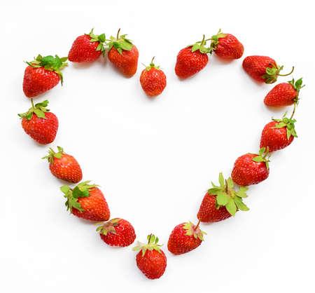 Red heart shaped strawberry (wish-card, valentine, 14 February, love) Stock Photo
