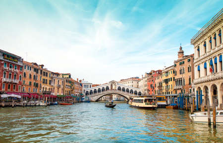 A magical landscape with gondola on the Grand Canal in Venice, Italy, Europe. (Romantic travel, honeymoon - concept)