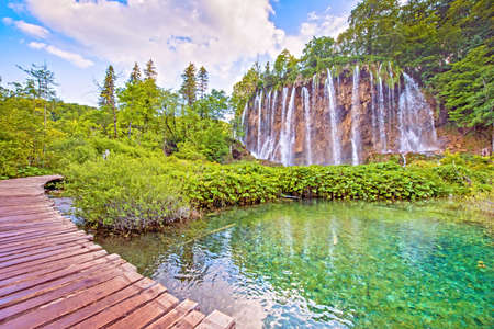 Incredibly beautiful fabulous magical landscape with a bridge near the waterfall in Plitvice, Croatia (harmony meditation, antistress - concept) Stock Photo
