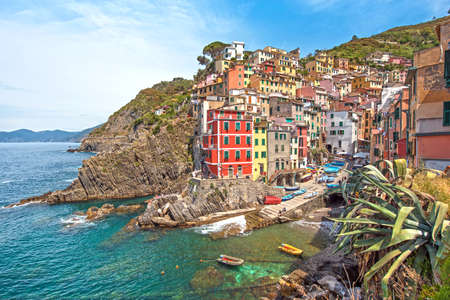 Incredible landscape in Riomaggiore with leaves of agave in Cinque Terre, Liguria, Italy, Europe