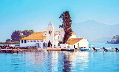 Nice view of Vlacherna Monastery on the Kanoni peninsula in Kerkyra, Corfu, Greece. popular tourist attractions, place of pilgrimage. amazing places. Stok Fotoğraf