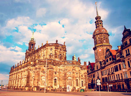 Catholic Court Church (Katholische Hofkirche) in the center of old town in Dresden, Germany, Europe