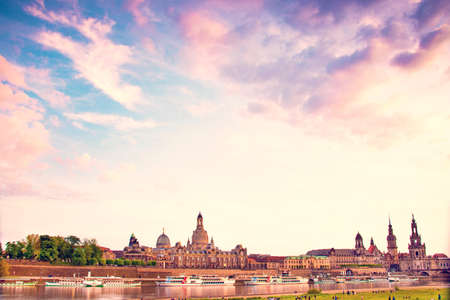 The picturesque view of old Dresden over the river Elbe at dawn. Saxony, Germany, Europe.