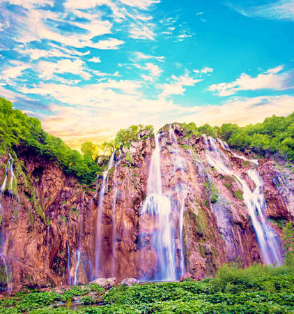 Magical Wonderful View with Waterfall Waves in the National Park in Plitvice, Croatia.