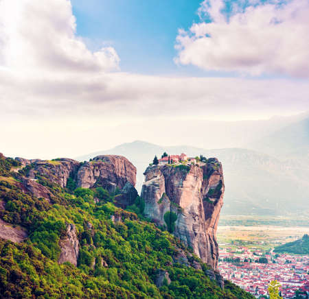 Holy monastery of saint Barbara, Roussanou in the famous valley of the Meteora rocks in Greece. Great amazing world. Attractions.