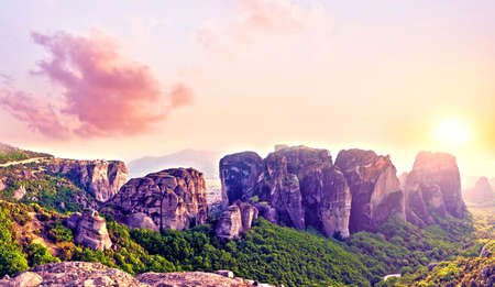 magnificent magical landscape in the famous valley of the Meteora rocks in Greece
