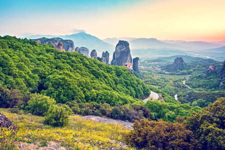 magnificent magical landscape in the famous valley of the Meteora rocks in Greece. Great amazing world. Attractions. 版權商用圖片