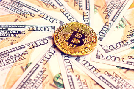 Dollars and bicone as an abstract symbol of the growing role of digital currency and financial transactions on the Internet (course, exchange, trade, circle - concept)