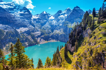 Beautiful magical landscape with the lake Oeschinensee in the Swiss Alps, near Adelboden, Switzerland, Europe 版權商用圖片