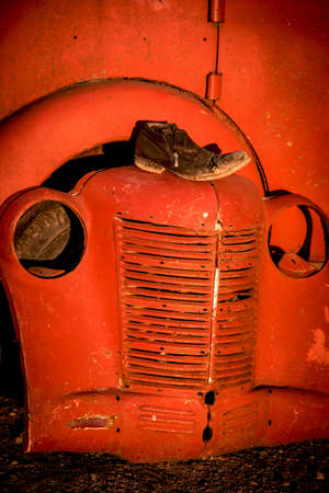 abstract image of the retro car and shoes. (decay, crisis - concept) 版權商用圖片