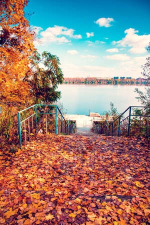 Beautiful autumn landscape with lake, clouds in the sky and fallen leaves on the roadside 版權商用圖片