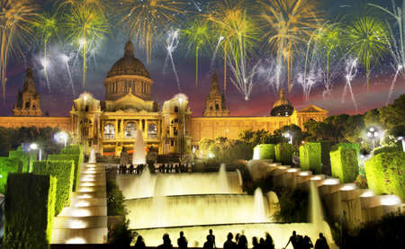 Beautiful city landscape in Barcelona and the sky in New Years fireworks