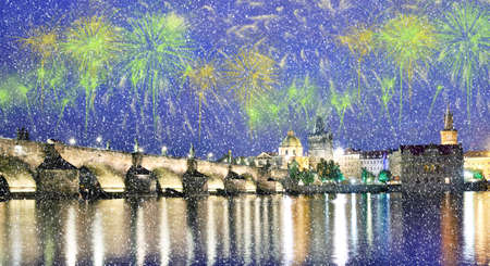 Beautiful bright colorful city landscape in the old city of Prague, Czech Republic in festive New Years fireworks over the Charles Bridge in snow weather