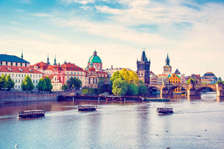 Picturesque magical beautiful landscape with Charles Bridge on the Vltava River in the old city of Prague, Czech Republic. amazing places. popular tourist atraction