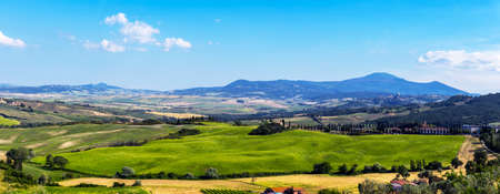 Magical beautiful landscape with hills against cloudy sky in Tuscany, Italy. Wonderful places.