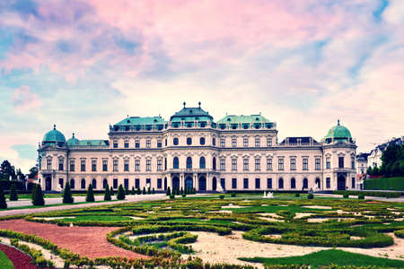 Beautiful landscape with  Belvedere gardens in Vienna, Austria, Europe. Travel to Vienna. Stok Fotoğraf