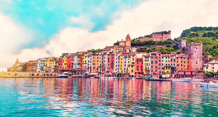 The magical landscape of the harbor with colorful houses in the boats in Porto Venere, Italy, Liguria