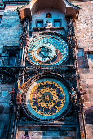 Astronomical Clock (Orloj) close-up in Prague, Czech Republic, Europe. Vintage style. Stok Fotoğraf