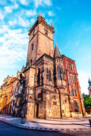 fascinating magical beautiful landscape with clock tower on the central square of Prague, Czech Republic. amazing places. popular tourist atraction Stok Fotoğraf